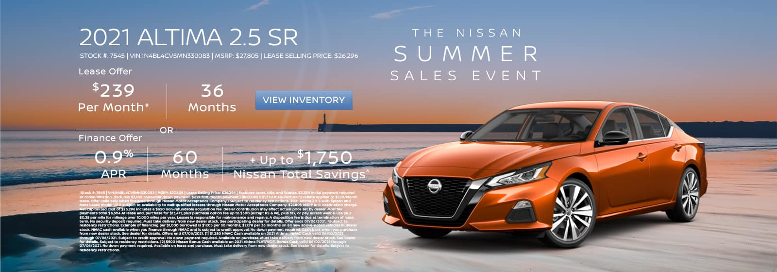 Lease a new 2021 Altima for $239 per month for 36 months.