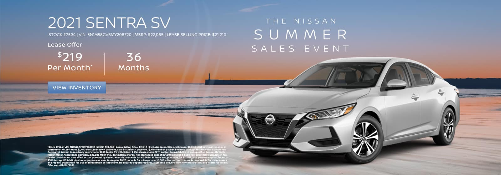 Lease a new 2021 Nissan Sentra for $219 per month for 36 months.