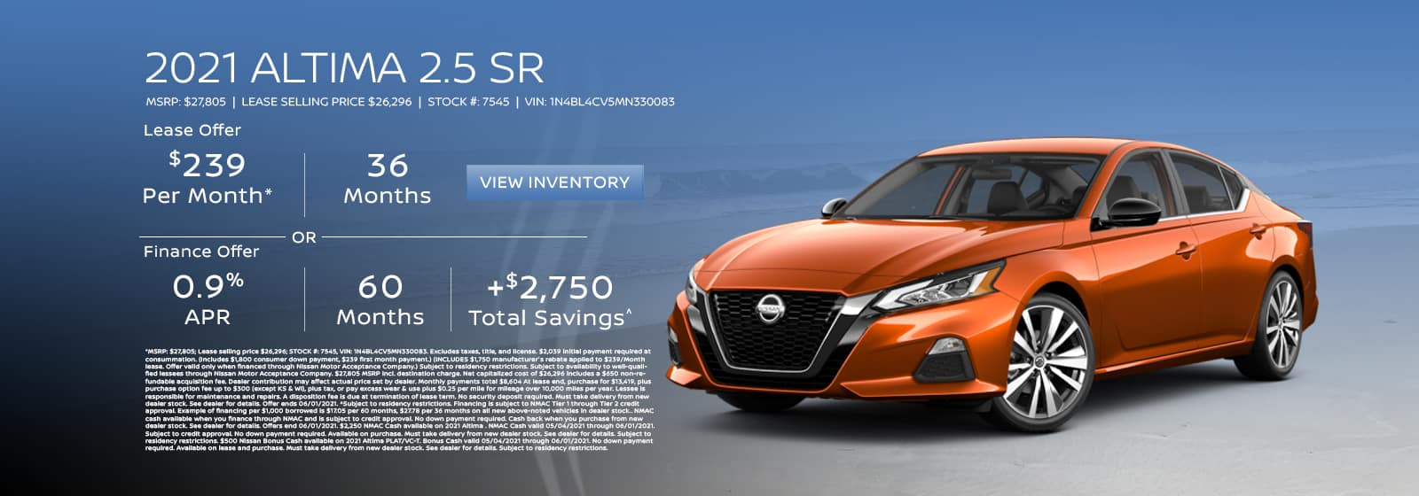 Lease a new 2021 Nissan Altima for $239 per month for 36 months.