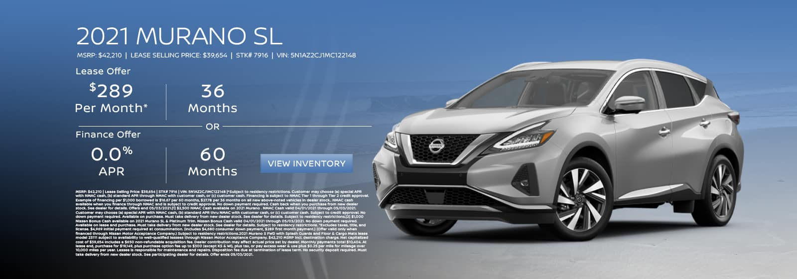 Lease a new 2021 Nissan Murano for $289 per month. See dealer for details.