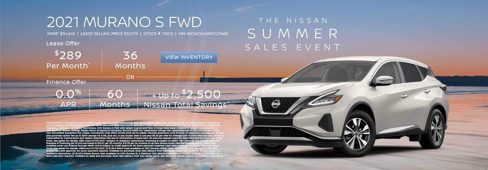 Lease a new 2021 Murano for $289 per month for 36 months. See dealer for details.