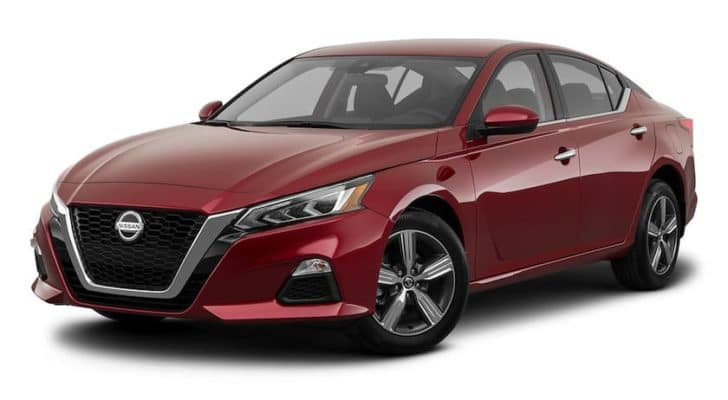 A red 2021 Nissan Altima is angled left.