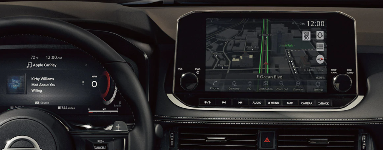 The infotainment screen is shown in a 2021 Nissan Rogue.