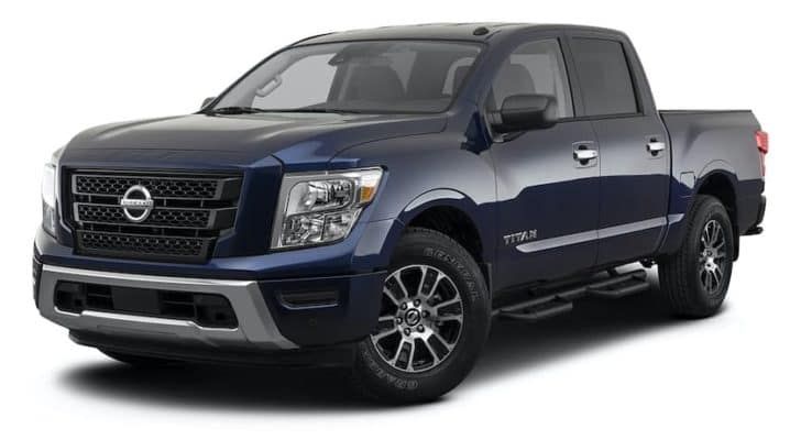 A dark blue 2021 Nissan Titan is angled left.