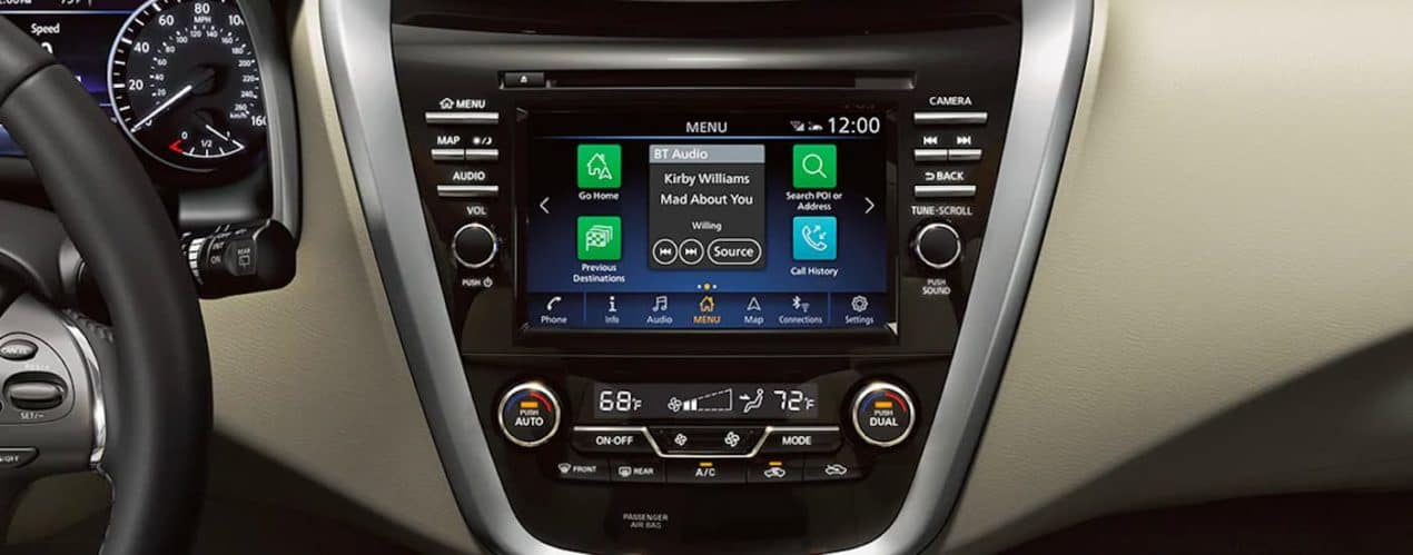A close up shows the infotainment screen on a 2021 Nissan Murano.