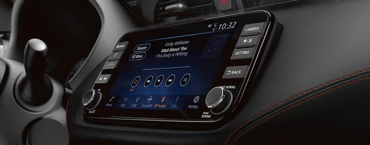 A close up shows the infotainment screen in a 2021 Nissan Kicks.