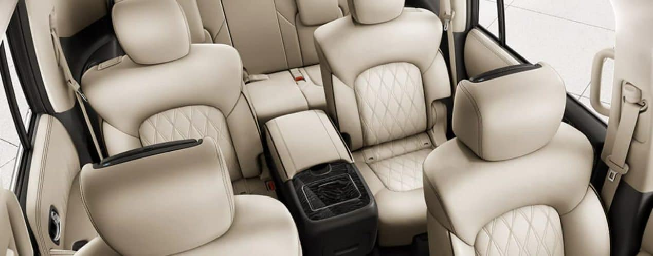 The cream interior of a 2021 Nissan Armada is shown.
