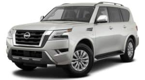 A silver 2021 Nissan Armada is angled left.