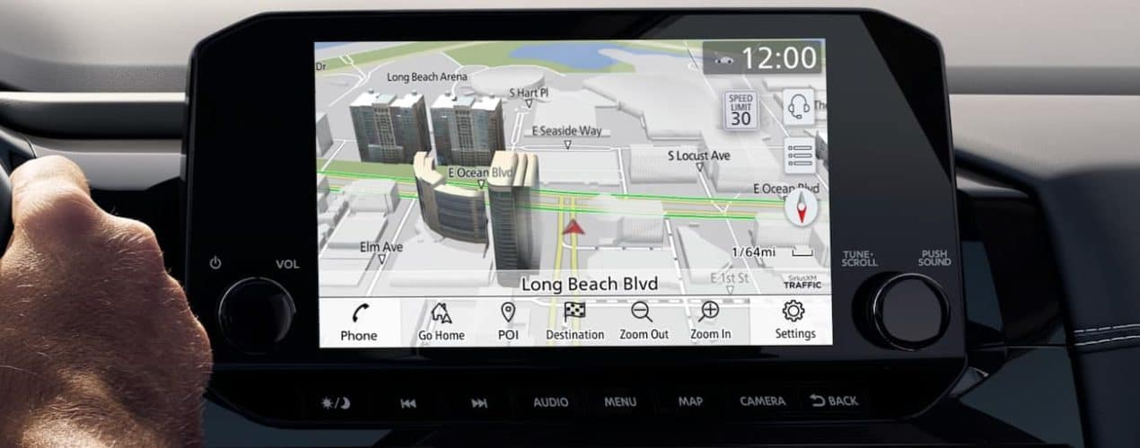 The screen in a 2022 Nissan Pathfinder is showing the GPS.