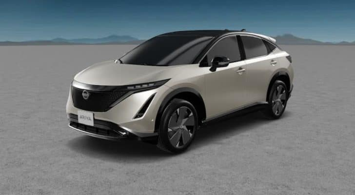 A silver 2022 Nissan Ariya is angled left.