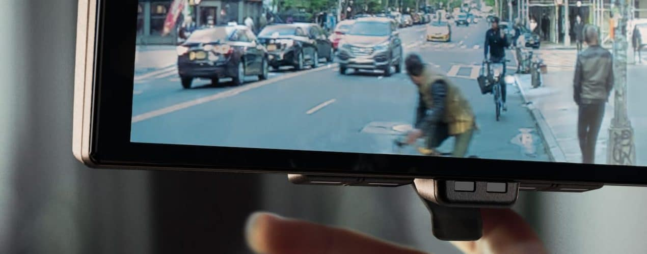 The interior of a 2022 Nissan Ariya shows the rear camera.