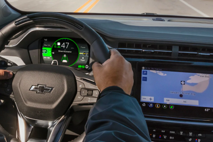 The 2022 Chevy Bolt EUV inside dash with the GPS on.