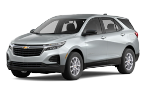 2022 Chevy Equinox LS in the color Silver Ice Metallic trim.