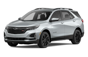 2022 Chevy Equinox RS in the color Silver Ice Metallic trim.