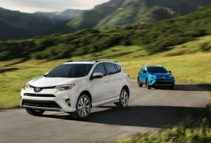 Toyota RAV4 Models in Super White and Electric Storm Blue
