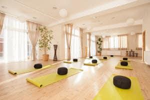 yoga studio with yoga mats