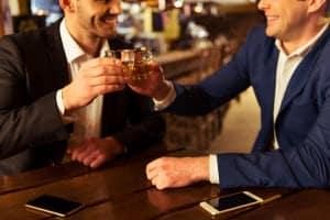 Drinking in a bar
