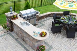 Backyard table and grill