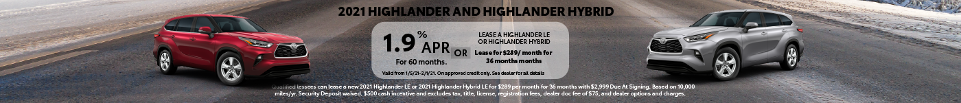 New Toyota Highlander for Sale