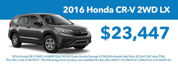 2016 Honda CR-V 2WD LX New Vehicle Special