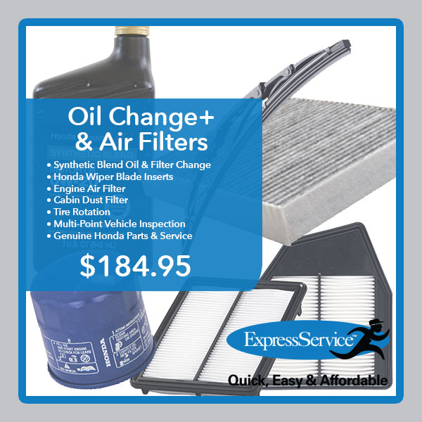 Honda Oil Change plus air filters special