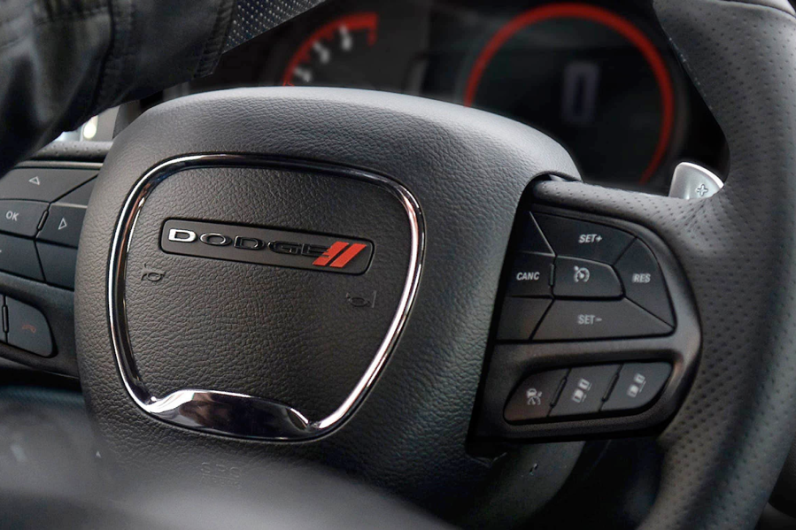Steering wheel of the 2021 Dodge Durango.