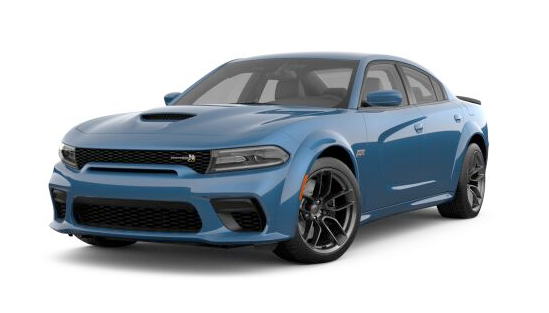 2021 Dodge Charger Scat Pack Widebody RWD in blue.