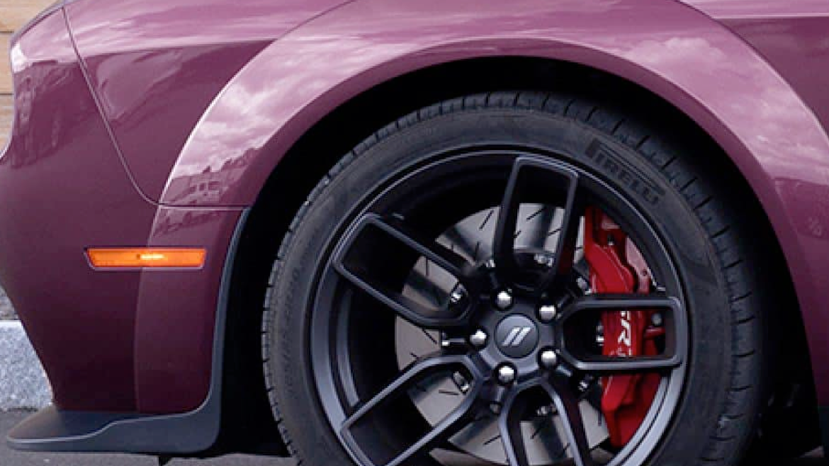 The break system of a 2021 Dodge Challenger.