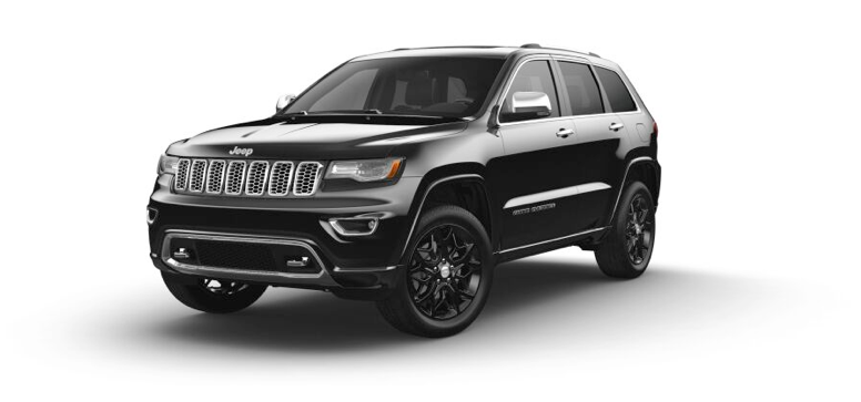 2021 Jeep Grand Cherokee Overland in the color Diamond Black Crystal Pearl-Coat