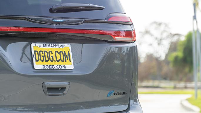 Back of 2021 Chrysler Pacifica Hybrid.