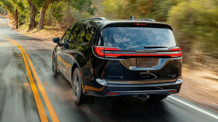 2021 Chrysler Pacifica driving on the road.