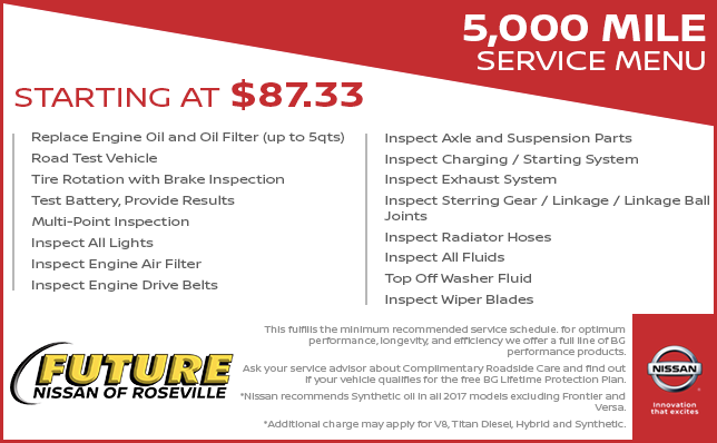 Future Nissan Service Menu Pricing | Future Nissan of Roseville