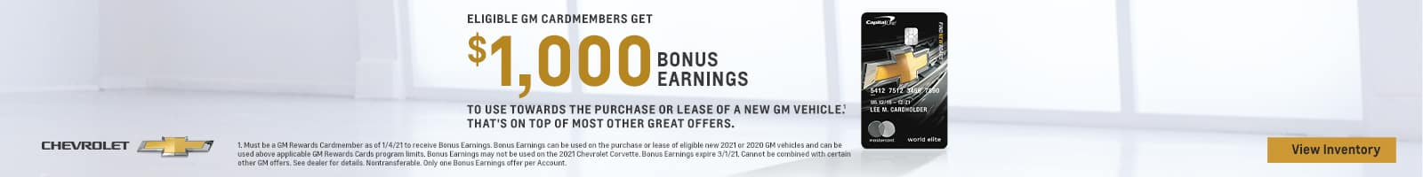 GM Cardmembers 1000 Bonus Earnings