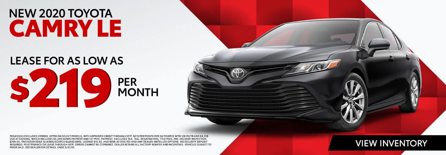 New 2020 Toyota Camry LE lease for $219 per month at High Country Toyota in Scottsboro, AL