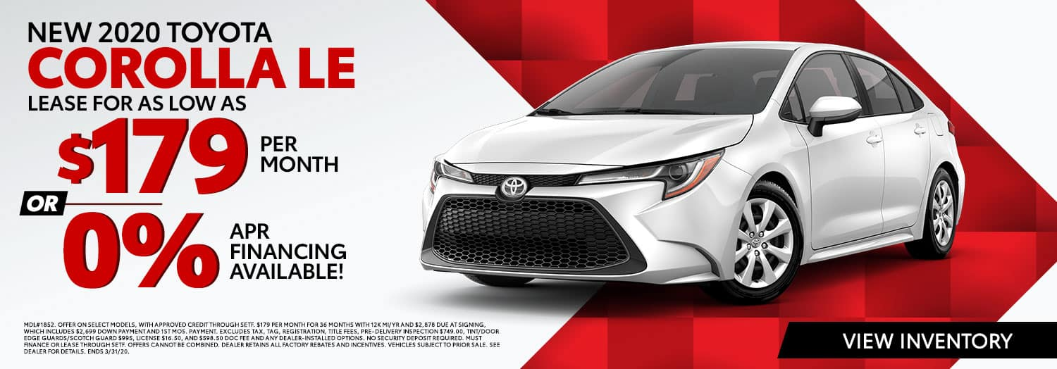 New 2020 Toyota Corolla LE Lease for $179 per month or 0% APR Financing at High Country Toyota in Scottsboro, AL