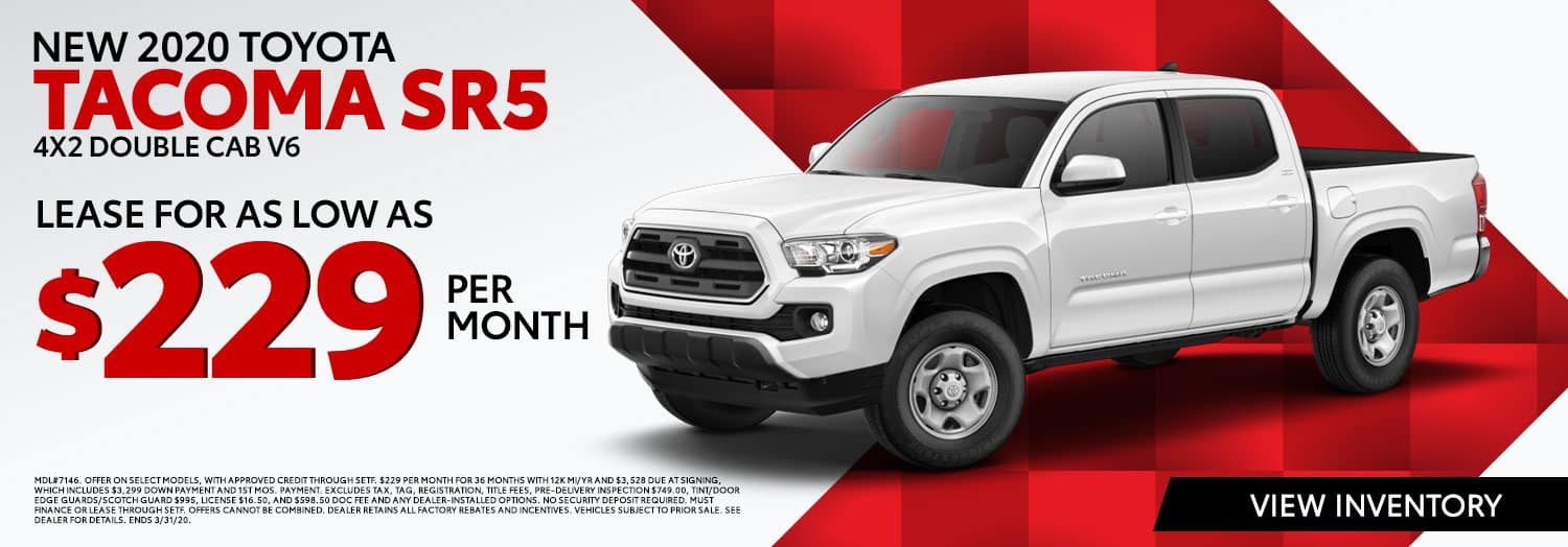 New 2020 Toyota Tacoma SR5 4X2 Double Cab V6 Lease for $229 per month at High Country Toyota in Scottsboro, AL