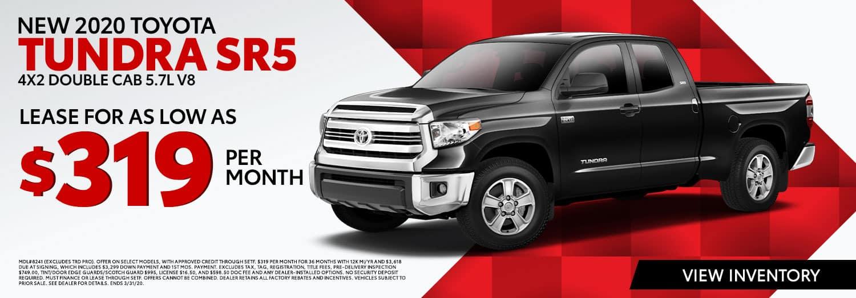 New 2020 Toyota Tundra SR5 4X2 Double Cab 5.7L V8 at High Country Toyota in Scottsboro, AL
