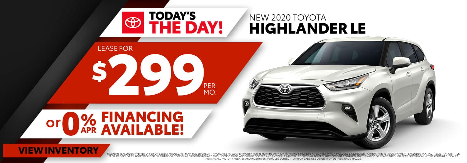 New 2020 Toyota Highlander LE at High Country Toyota!