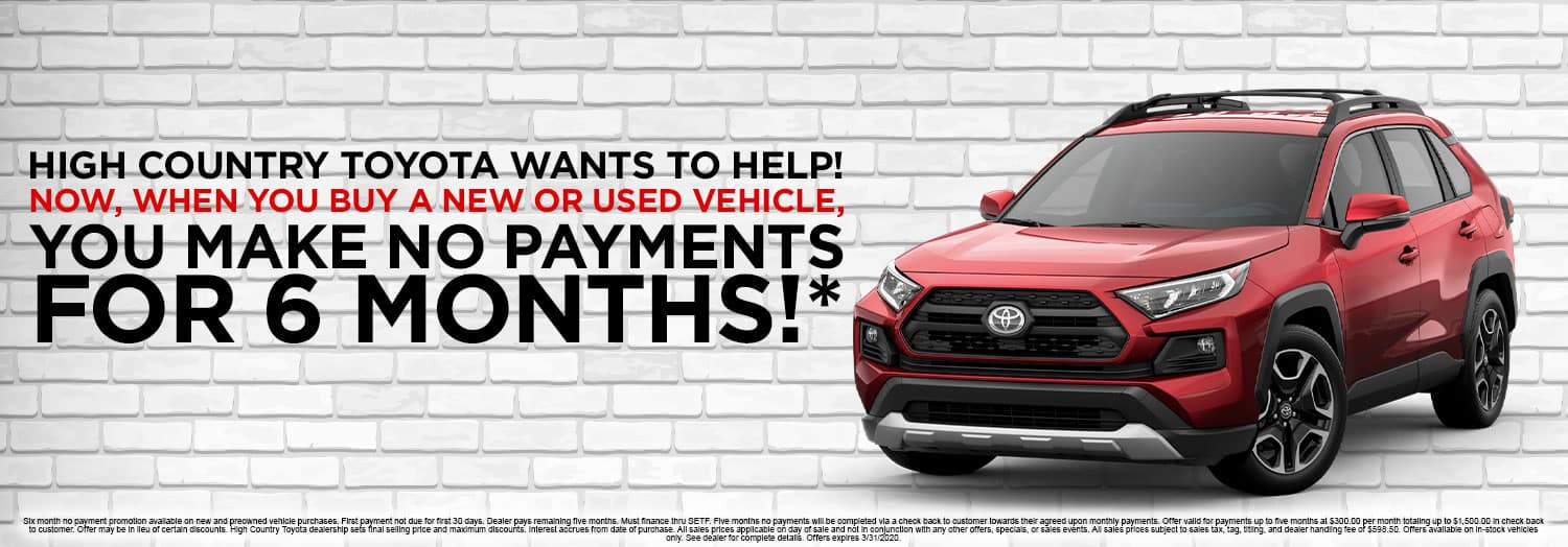 No Payments for 6 Months at High Country Toyota in Scottsboro, AL