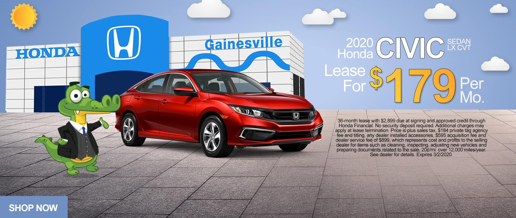 2020 Honda Civic Sedan LX CVT | Lease For $179 Per Month