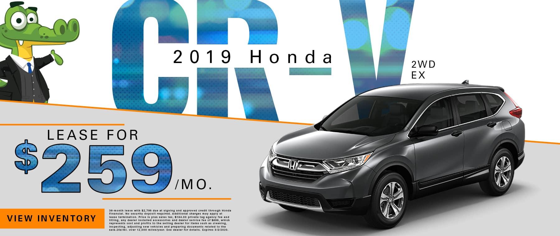 New 2019 Honda CR-V 2WD EX | Lease For $259/Mo