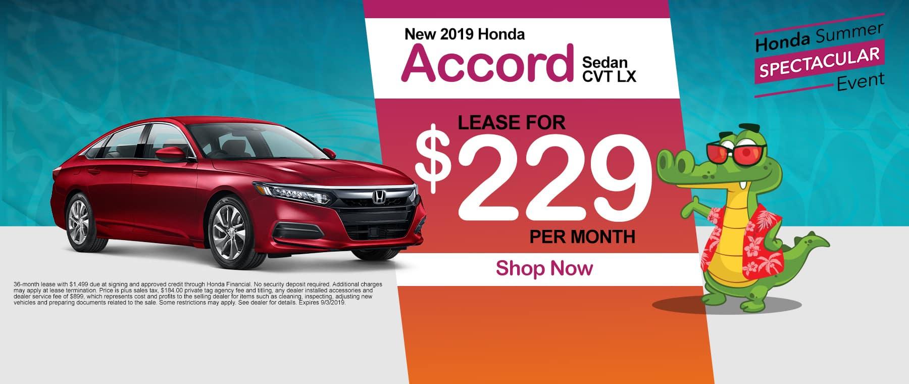 New 2019 Honda Civic Accord CVT LX | Lease For $229 Per Month