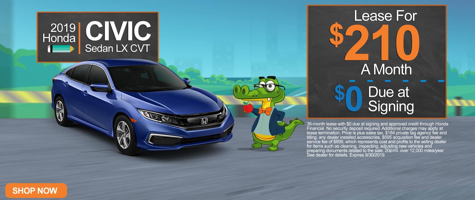 New 2019 Honda Civic Sedan LX CVT | $210 A Month | $0 Due At Signing
