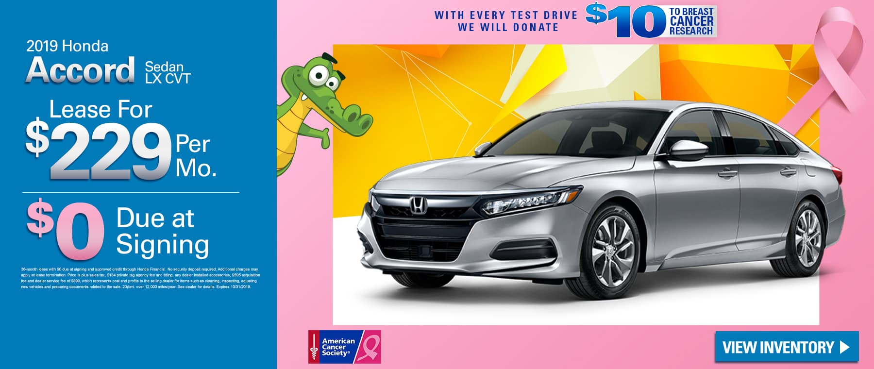 2019 Honda Accord Sedan LX CVT | Lease For $229 A Month $0 Due At Signing | With Every Test Drive We Will Donate $10 To Breast Cancer Research
