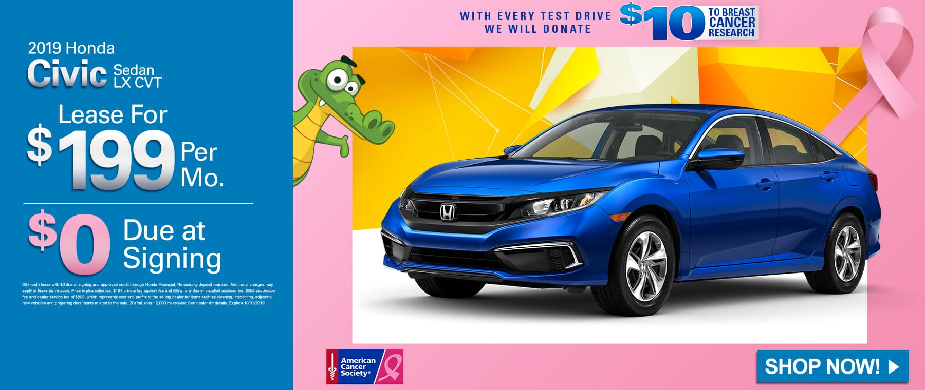 2019 Honda Civic Sedan LX CVT | Lease For $199 A Month $0 Due At Signing | With Every Test Drive We Will Donate $10 To Breast Cancer Research