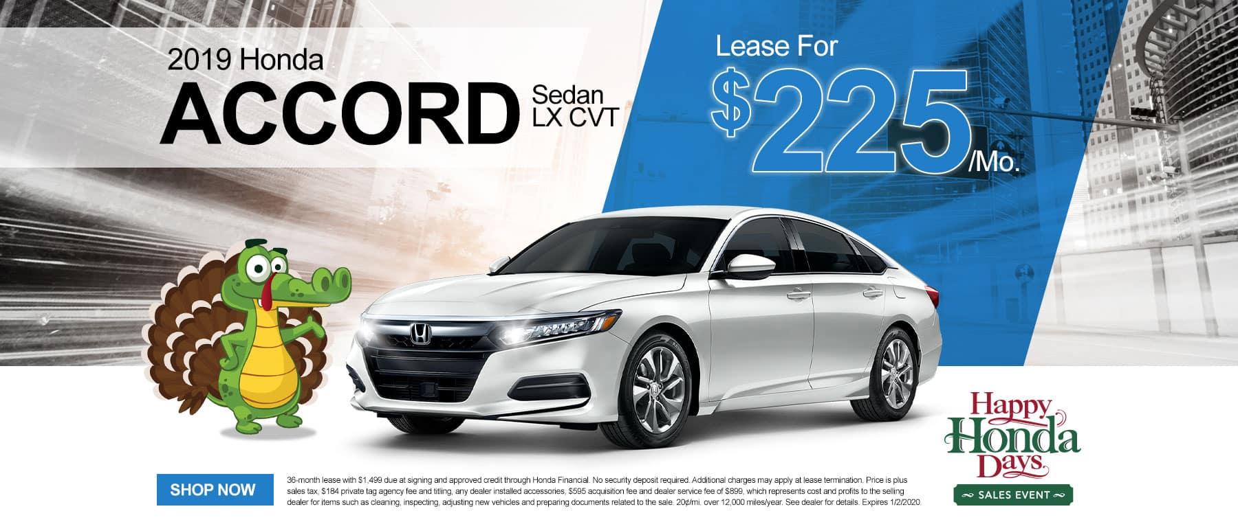 2019 Honda Accord Sedan LX CVT | Lease For $225/Mo | Happy Honda Days Sales Event