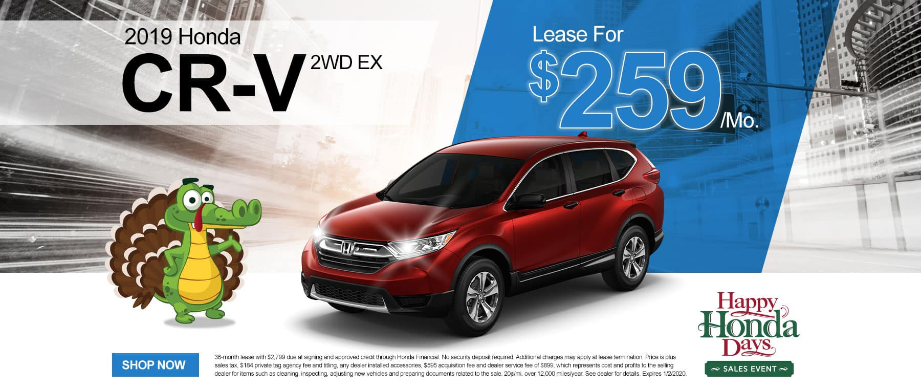2019 Honda CR-V 2WD EX | Lease For $259/Mo | Happy Honda Days Sales Event