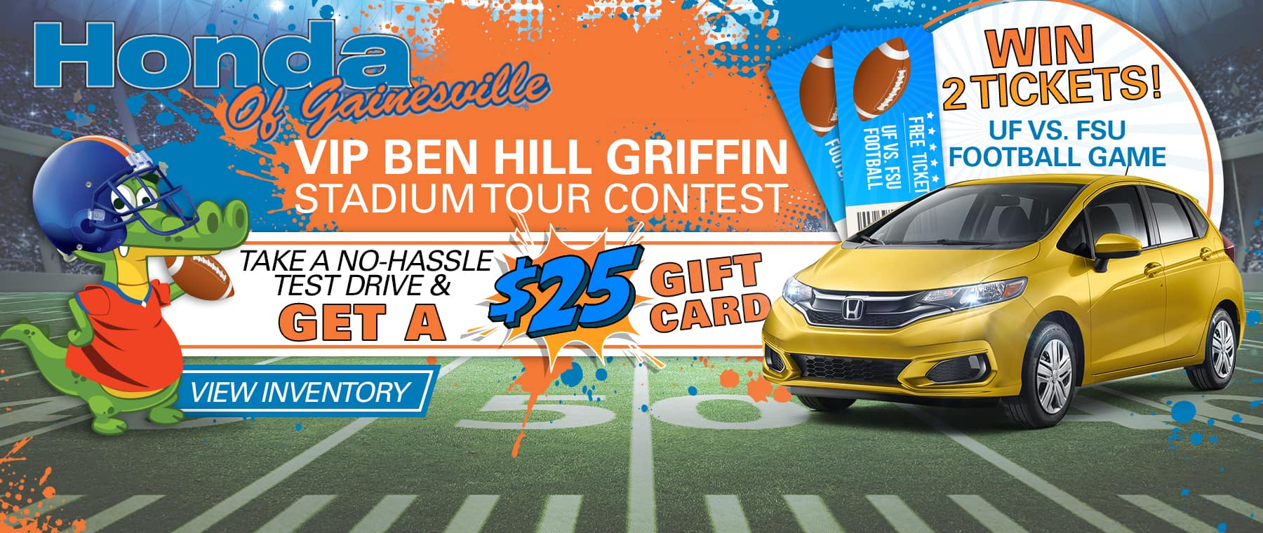 Honda Of Gainesville VIP Ben Hill Griffin Stadium Tour Contest | Take A No-Hassle Test Drive & Get A $25 Gift Card | Win 2 Tickets! UF vs. FSU Football Game