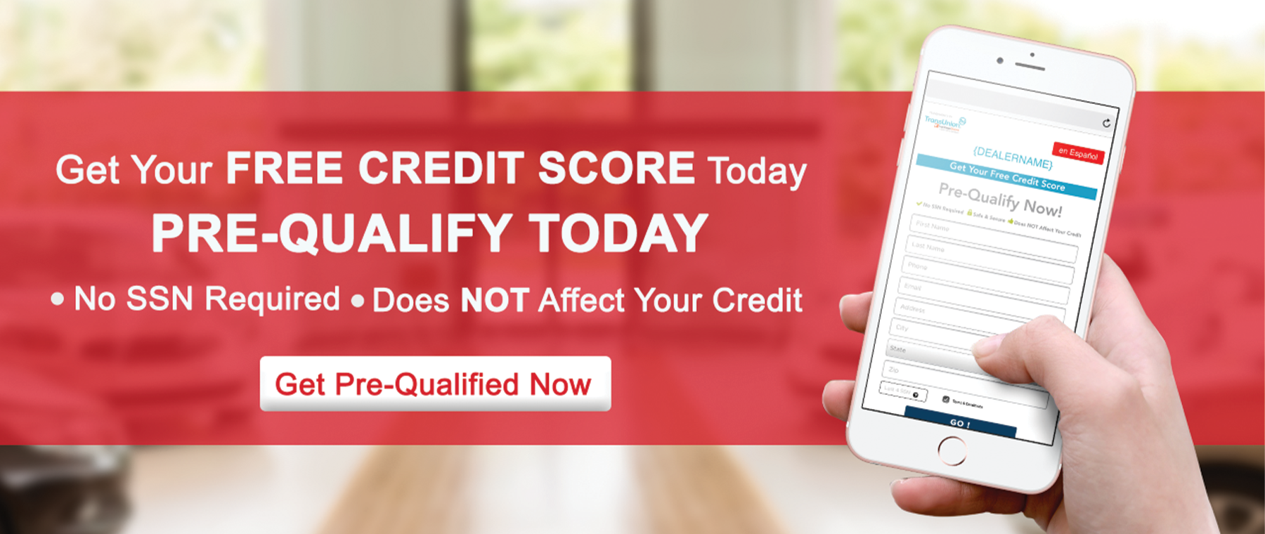 Get Your FREE CREDIT Score Today & Pre-Qualify Today! No SSN Required - Does NOT Affect Your Credit
