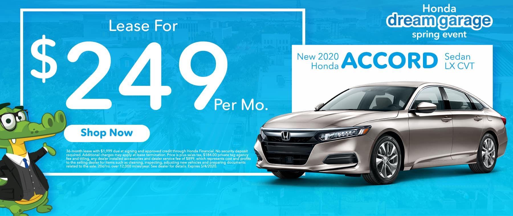 New 2020 Hond Accord Sedan LX CVT | Lease For $249 Per Mo | Honda Dream Garage Spring Event